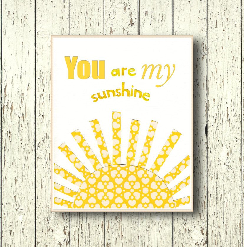 You are my Sunshine baby boy nursery baby girl nursery Kids wall art ...