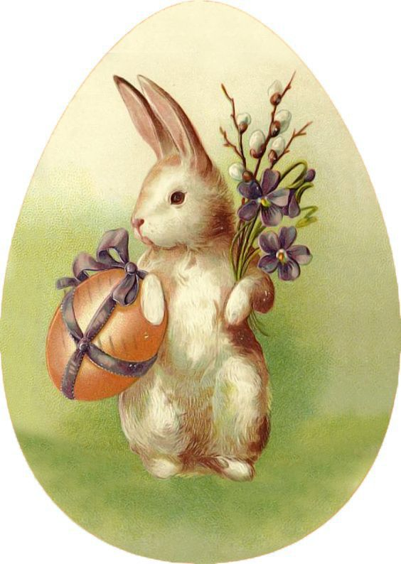 Пасхальные ретро открытки с кроликами