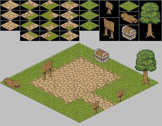 Рис.7 Изометрические тайлы и созданная из них игровая карта.