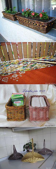 Плетение из журналов. Кашпо для цветов и другие идеи.