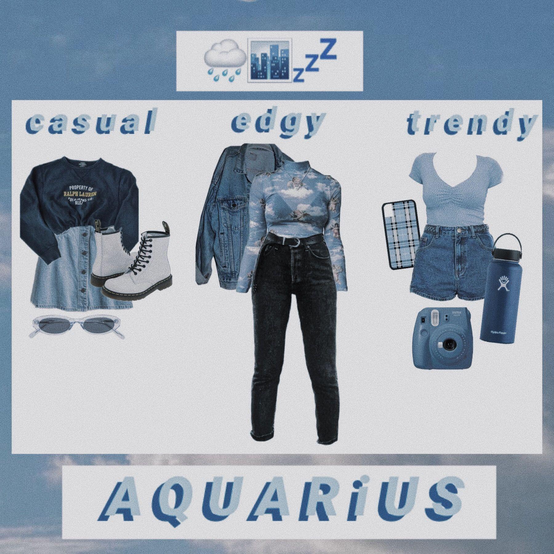 A Q U R I S Mood Board Aesthetic Zodiac Outfit Moodboard Aquariu Blue Casual Edgy Trendy Fashion Style Clothes Custom Paraphrase Clothing