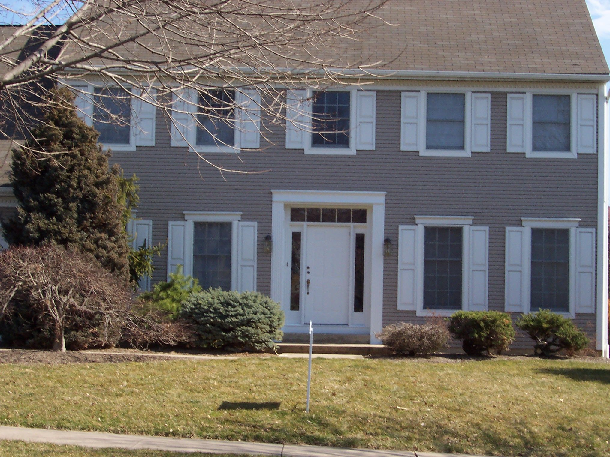 Image result for Gray Houses with white shutters
