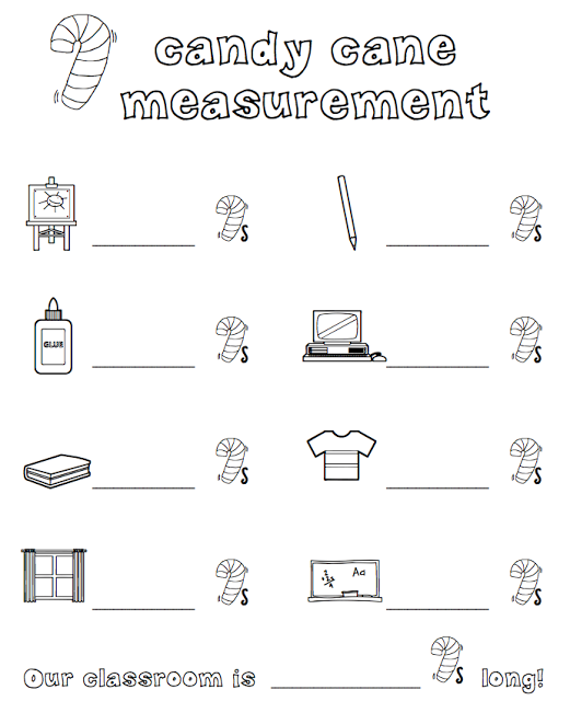 Candy Worksheets For Kindergarten : Candy cane measurement christmas math freebies