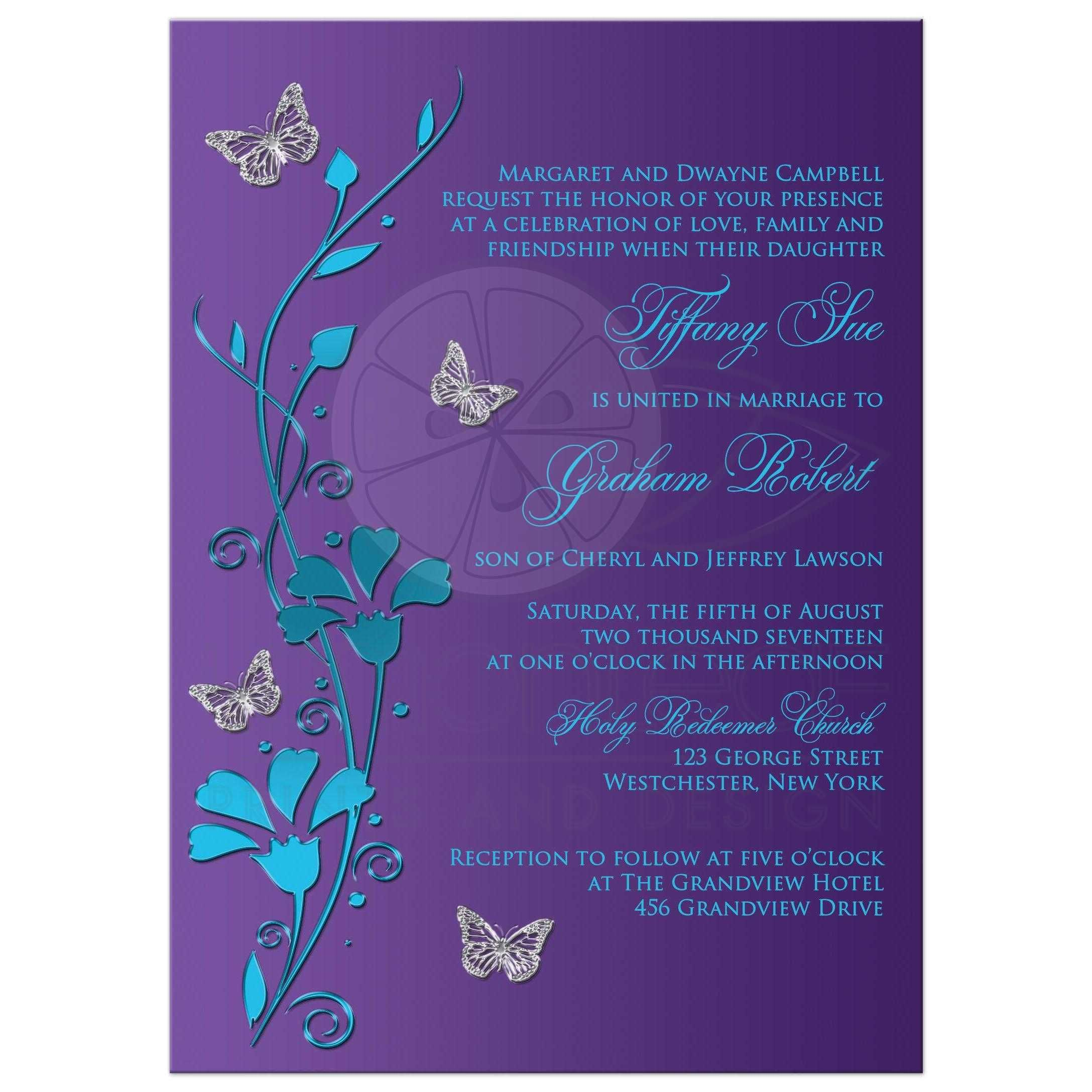 Wedding invitation turquoise blue purple silver flowers this modern turquoise or teal blue and purple floral wedding invitation has metallic look flowers and silver butterflies on it that would be perfect for a izmirmasajfo
