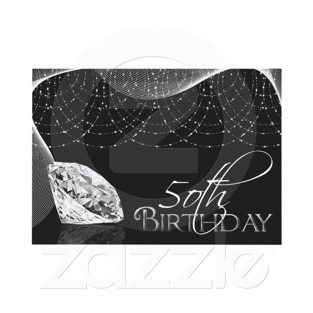 Black & White Diamond 50th Birthday Invitations | 50th birthday ...