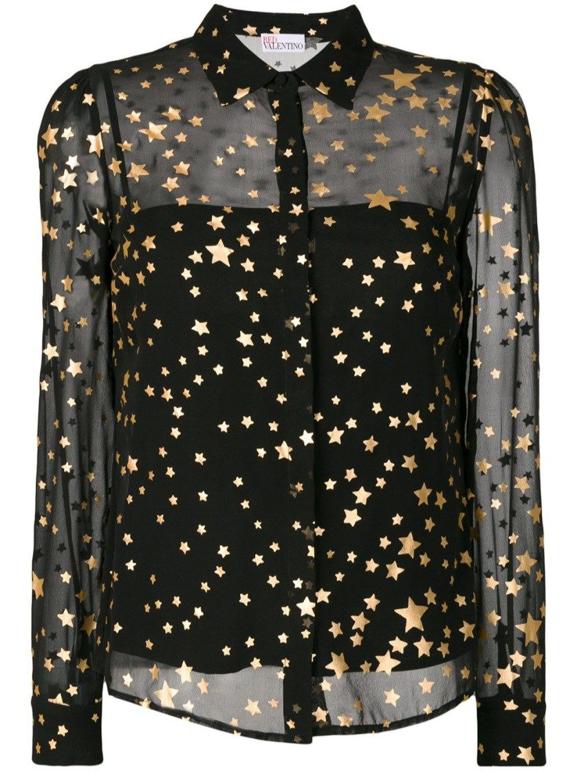 04b41c6973c6 RED VALENTINO Layered Sheer Gold Foil Star Shirt.  redvalentino  cloth   long sleeved shirts
