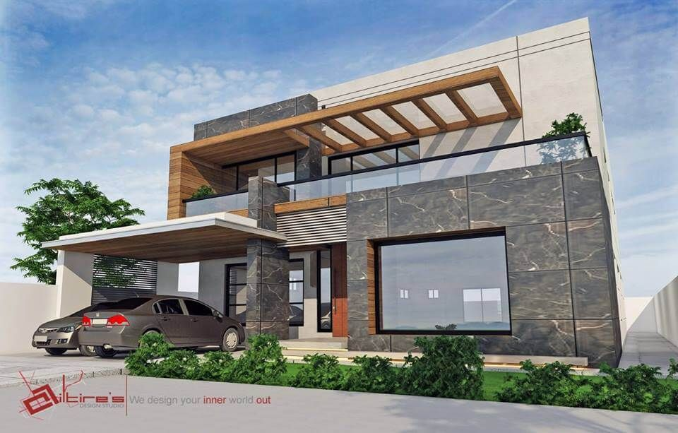Contemporary Residence By Ailtire S Design Studio 1 Kanal House House Outside Design House Elevation Modern Style House Plans