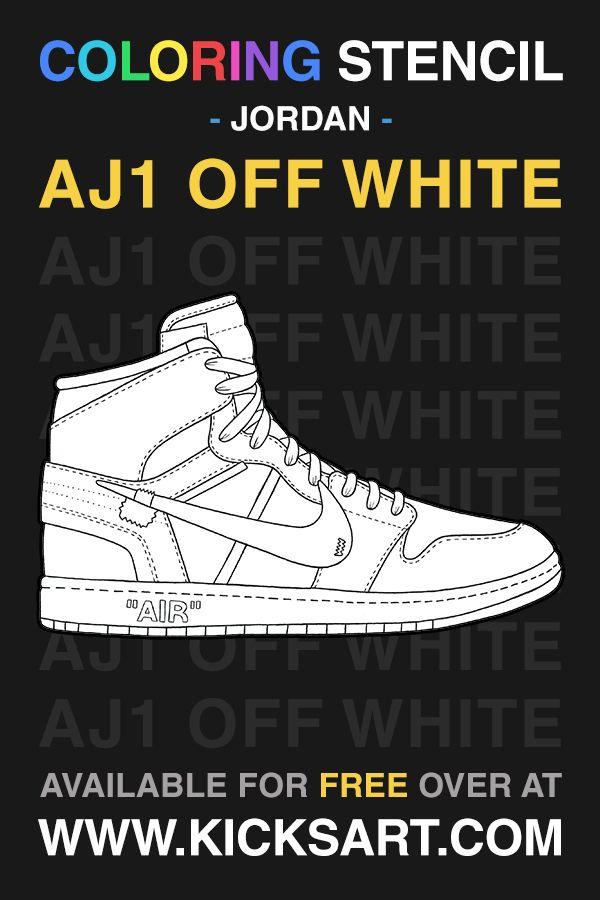 Air Jordan 1 Off White Sneaker Coloring Page in 2020 ...
