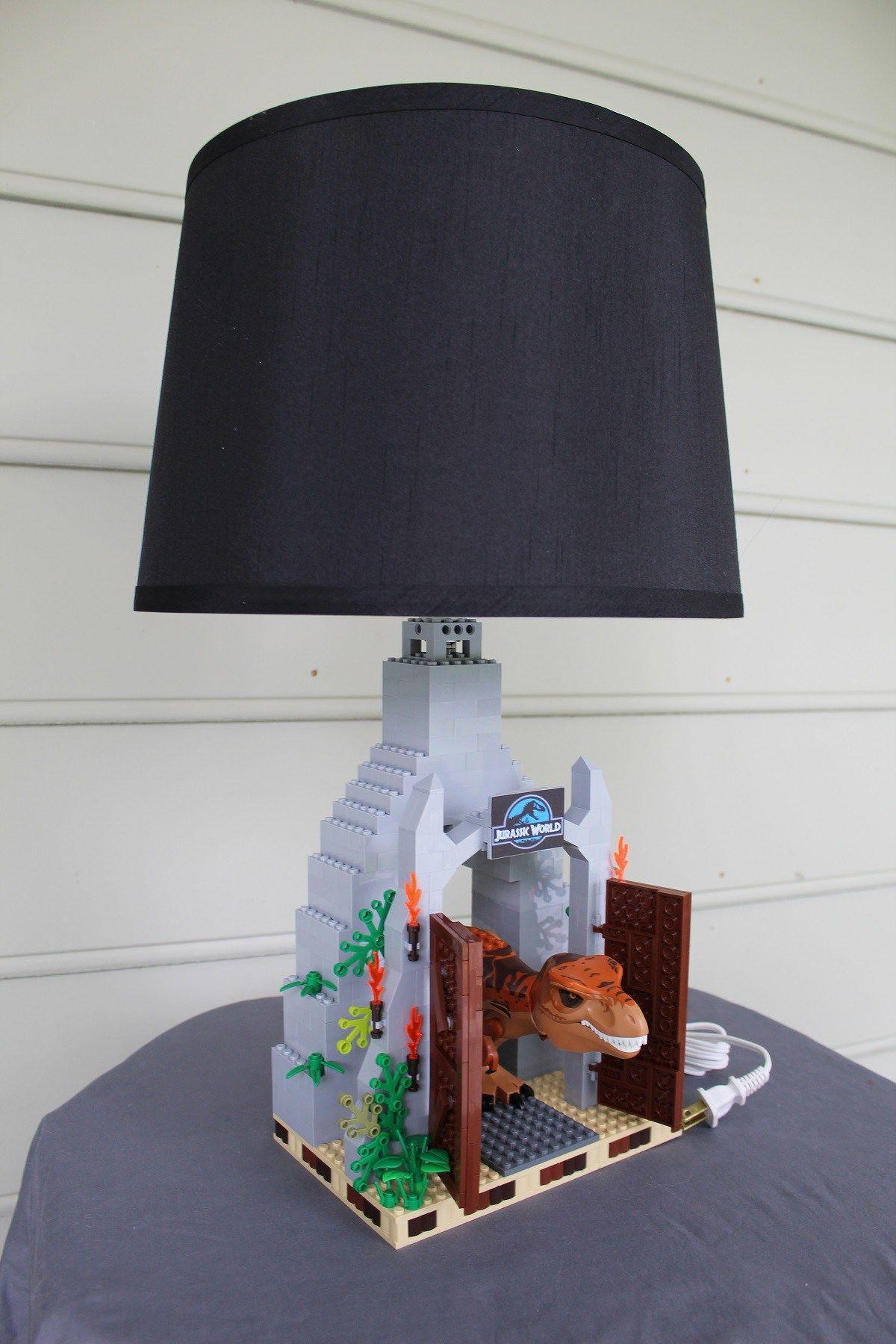 Custom Built T-Rex Lamp, with Jurassic World Park Gate  T rex