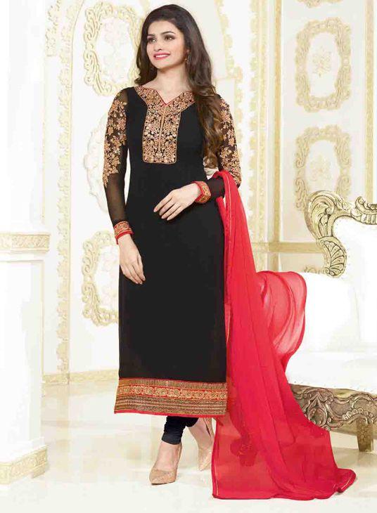 USD 39.63 Prachi Desai Black Georgette Churidar Suit 55934