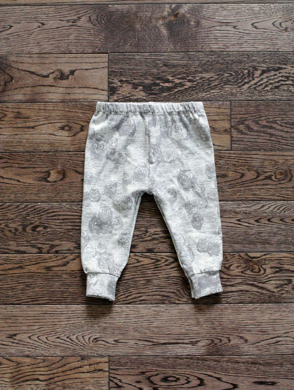 addf3085198fb Baby Leggings and Hat Set - Light Grey with Dark Grey Owl Print Cotton  Jersey Knit