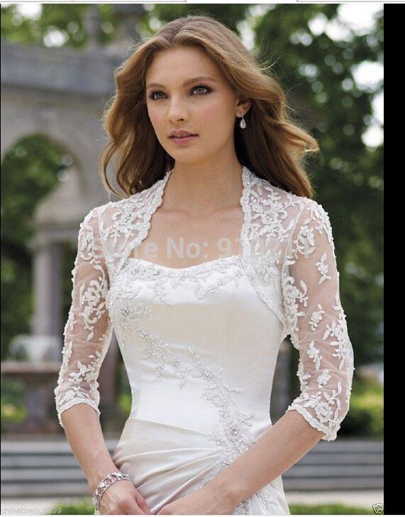 25db490fb87c The New Three-Quarters Sleeve White Lace Wedding Beautiful Bride Shawl  Jacket Wedding Jackets / Wrap