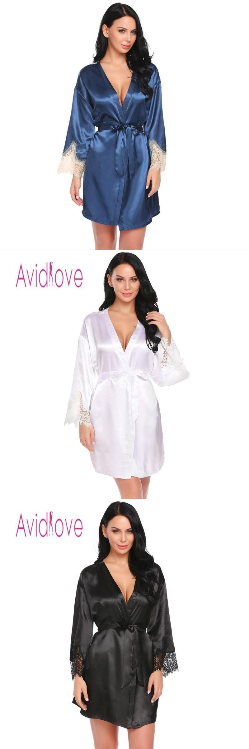 Women sleepwear night dress sleeve casual vneck long lace satin