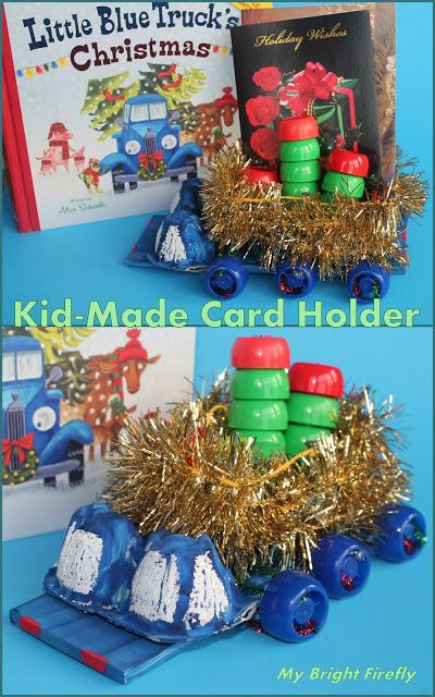 Handmade Christmas Card Holder Idea Little Blue Truck Christmas