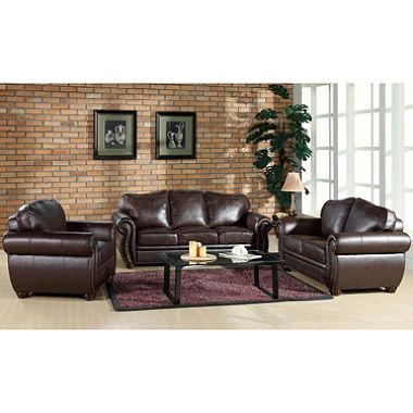 Sophie Top-Grain Leather Sofa, Loveseat And Armchair Set | Leather