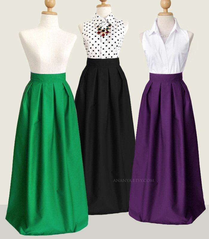Cotton pleated long skirt with pockets - custom size, maxi, floor ...