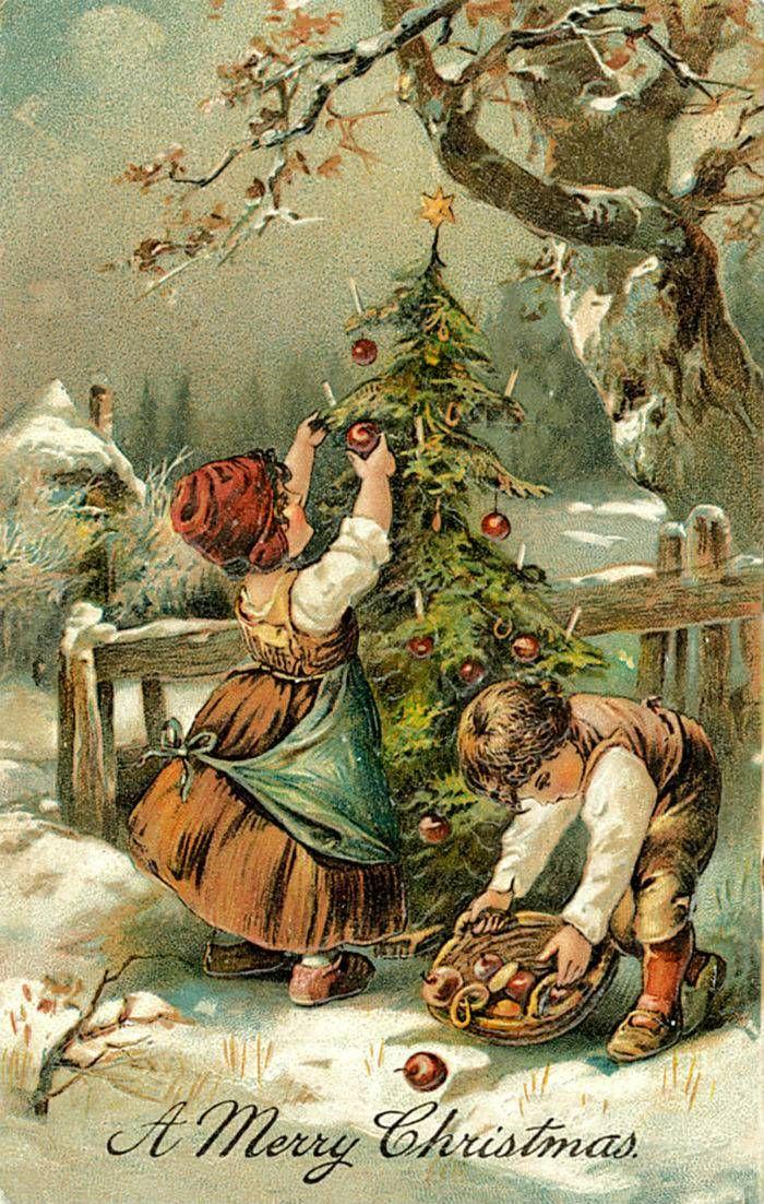 Антикварные открытки рождество