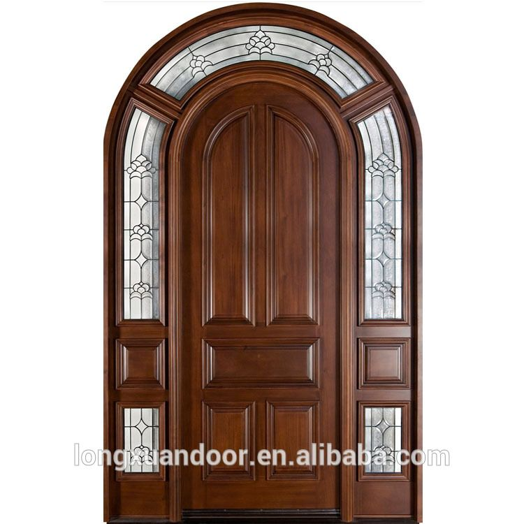 Arco de madera maciza puerta doble puerta de vidrio de madera ...