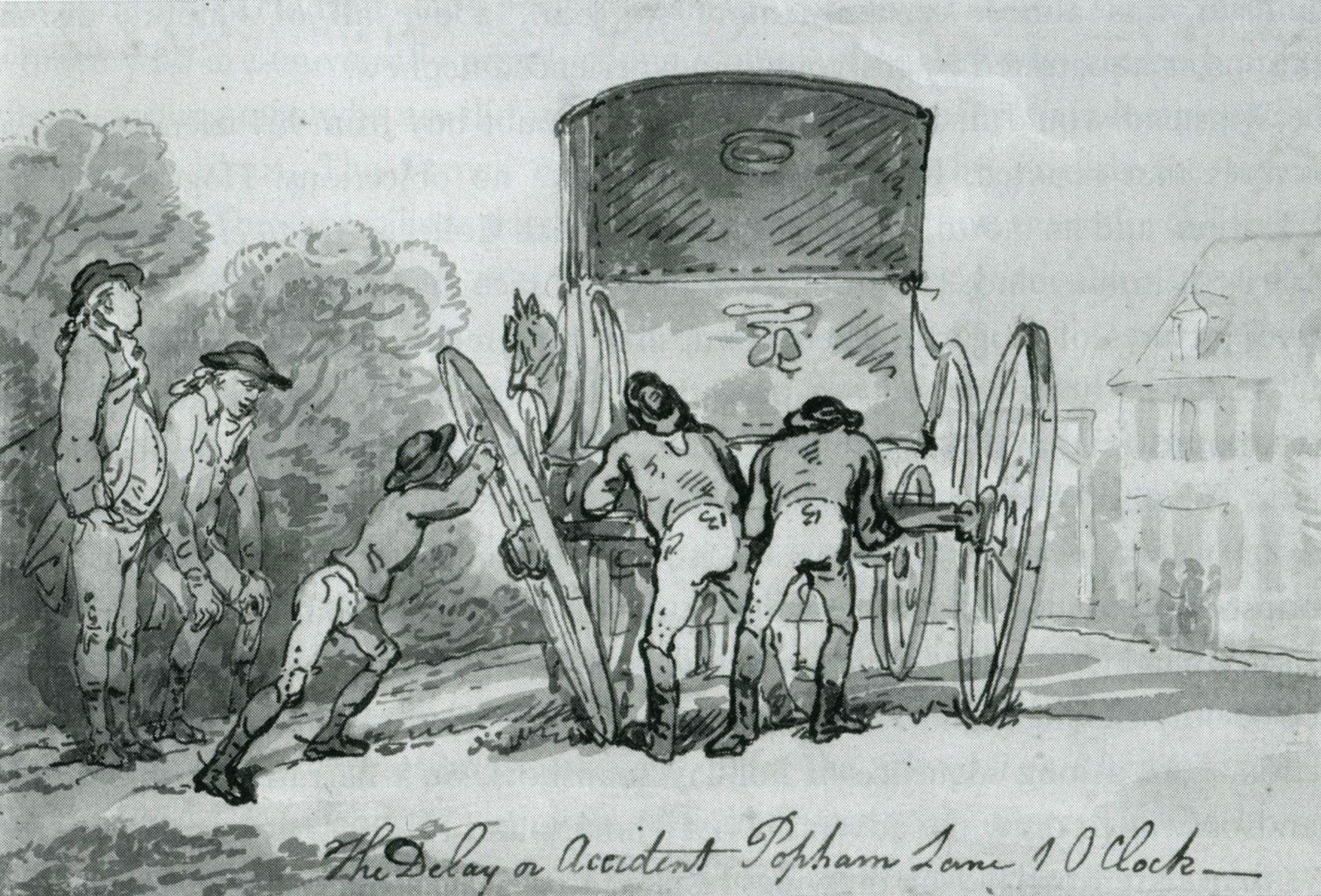 The Delay or Accident on Popham Lane, 10 am, 1784, Thomas Rowlandson