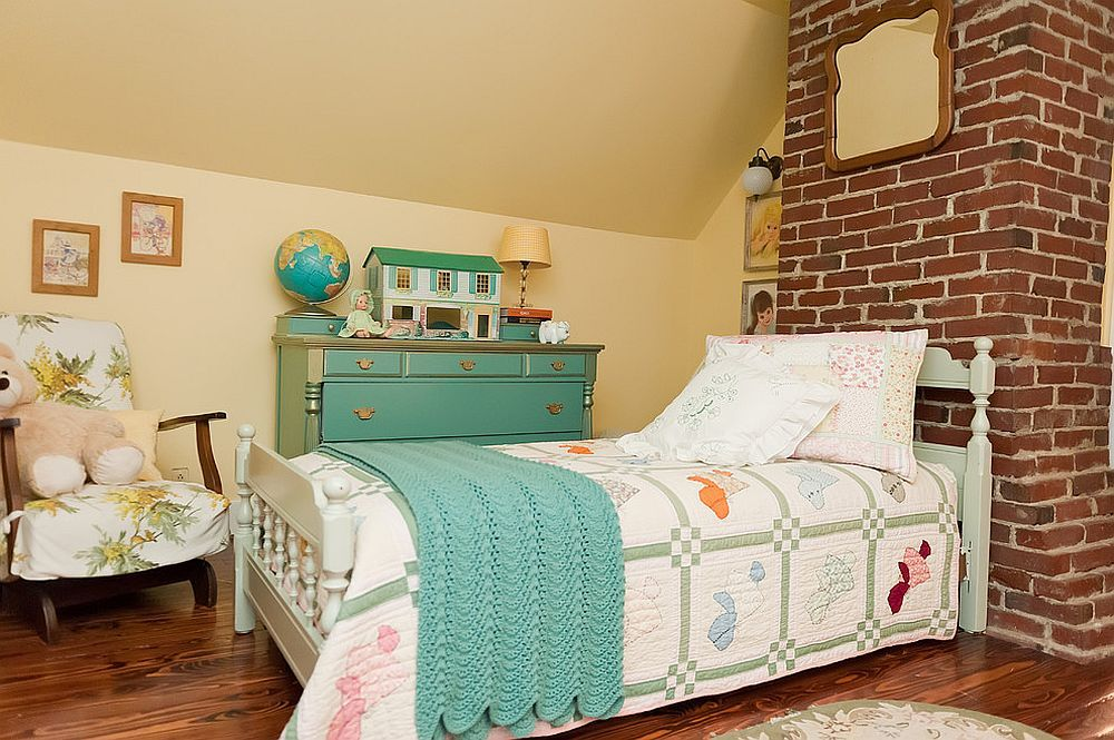 Shabby chic style kids' bedroom with brick wall feature [Design: Kristie Barnett, The Decorologist / Melanie G Photography]