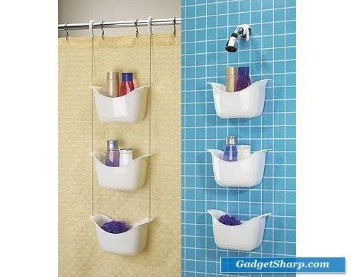 White Hanging Shower Caddy 3 Tiered Baskets Bath Decor   Bathrooms ...