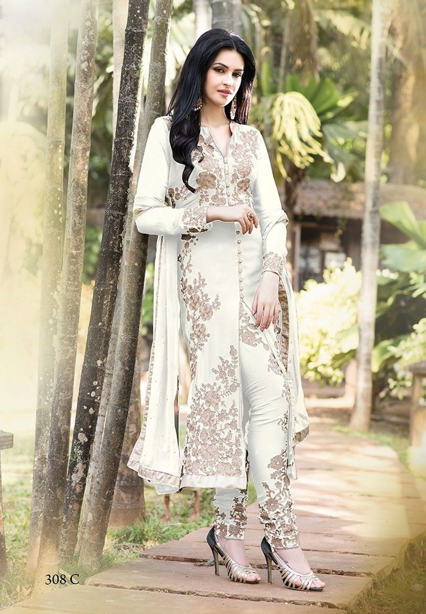 c596314ab2a Buy Apparels- Designer White Colour Party Wear Salwar Kameez Embroidery  Work. Off White Georgette ...