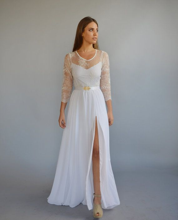 Lace wedding dress, mixed lace top, wedding dress, long sleeves ...