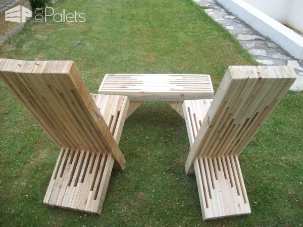 modern pallet furniture. Modern Stacked Pallet Patio Set Benches, Chairs \u0026 Stools Furniture D