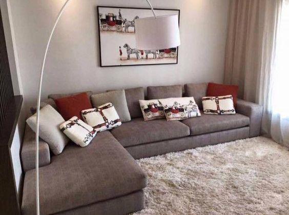 salon marocain moderne gris rouge en L de interieur sur mesure ...
