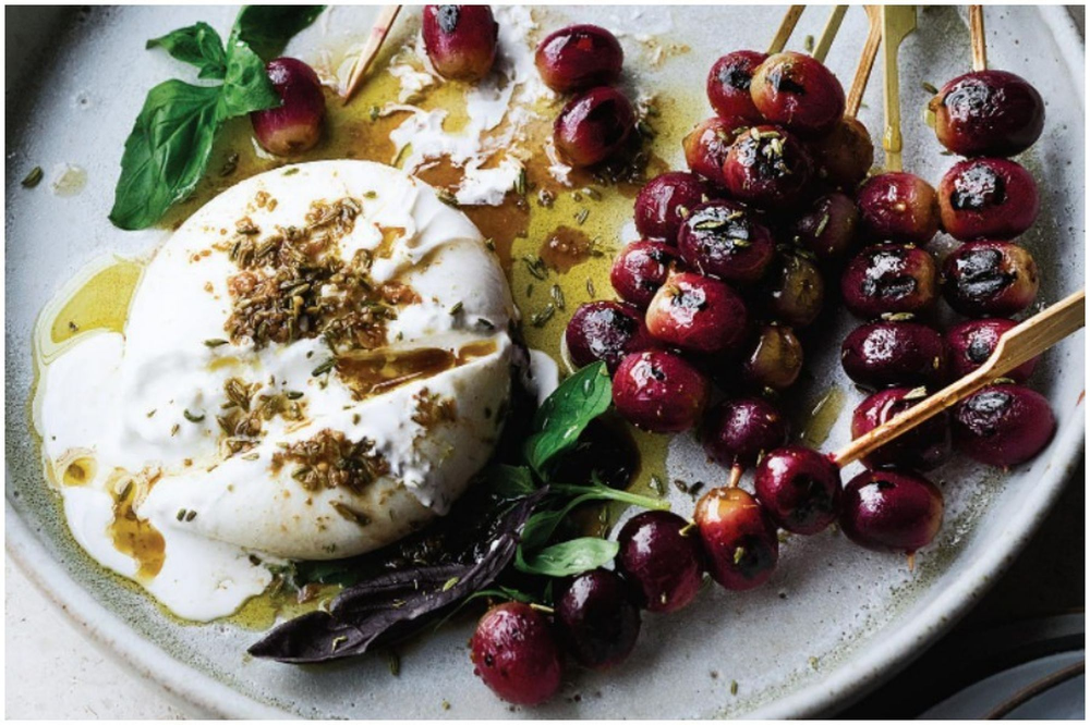Ottolenghi's Burrata with Grilled Grapes & Basil Recipe on Food52