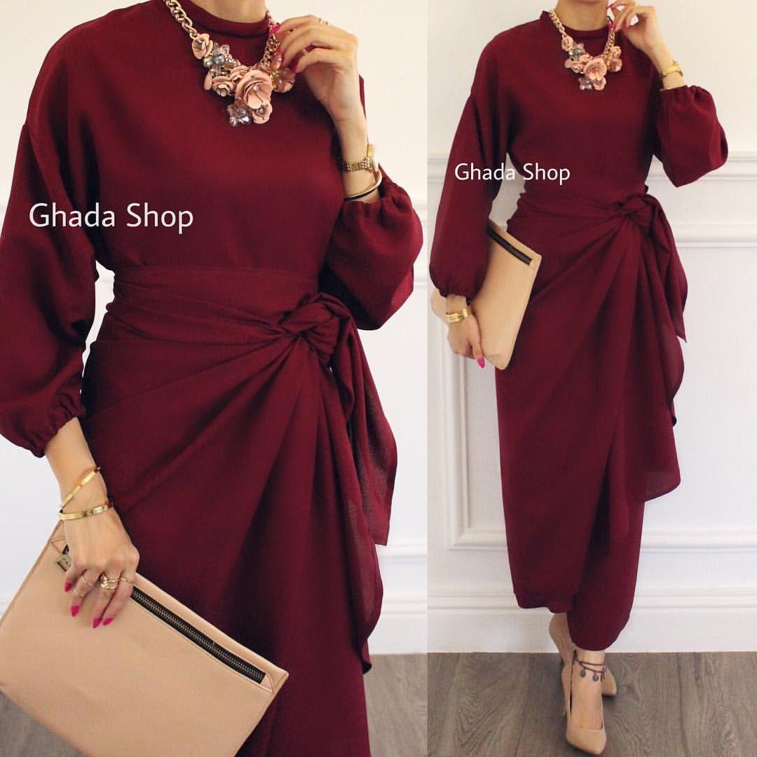 فستان مميز من قطعتين فستان و تنورة تلف على الخصر بطريقة مبتكرة بخامة صيفية عالية الجودة من تصميم غادة عثمان Chiffon Fashion Soiree Dress Hijab Evening Dress