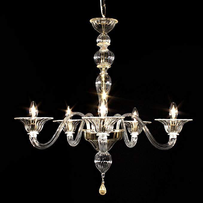 Milano lampadario in vetro di Murano 5 luci cristallo oro