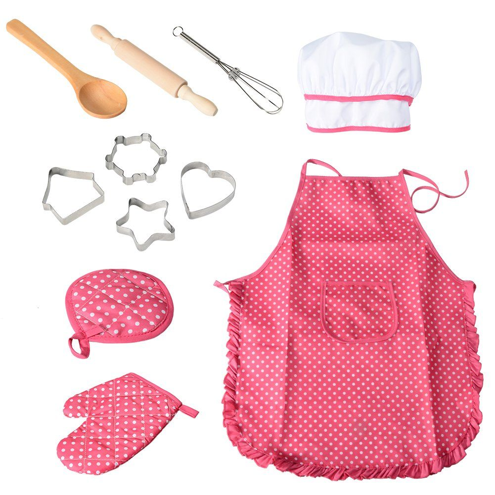 Children/'s Apron and Chef Hat Children/'s Play Set Children/'s Cooking Set Cooking Accessories Cooking Set Child/'s Chef Costume