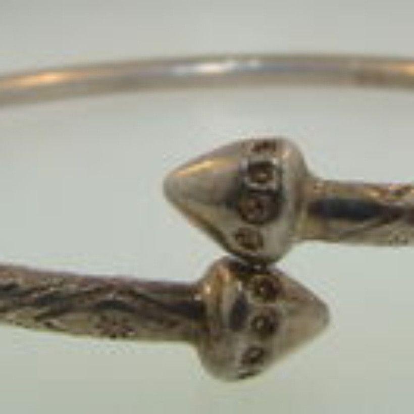 Vintage Jamaican Silver Snake Bracelet-23g