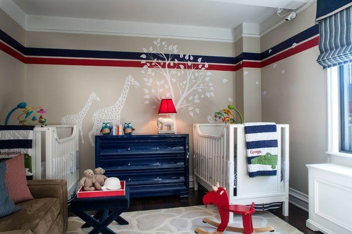 Kinderzimmer Wandfarben horizontal Streifen Blau Babyzimmer - wandgestaltung streifen ideen