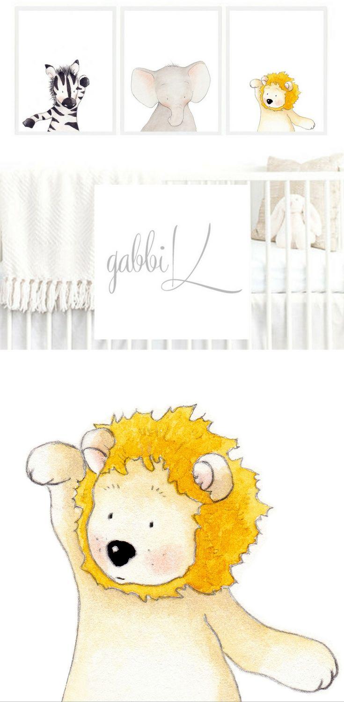 Safari Nursery Wall Art, Elephant Zebra Lion Baby Boy Girl ...