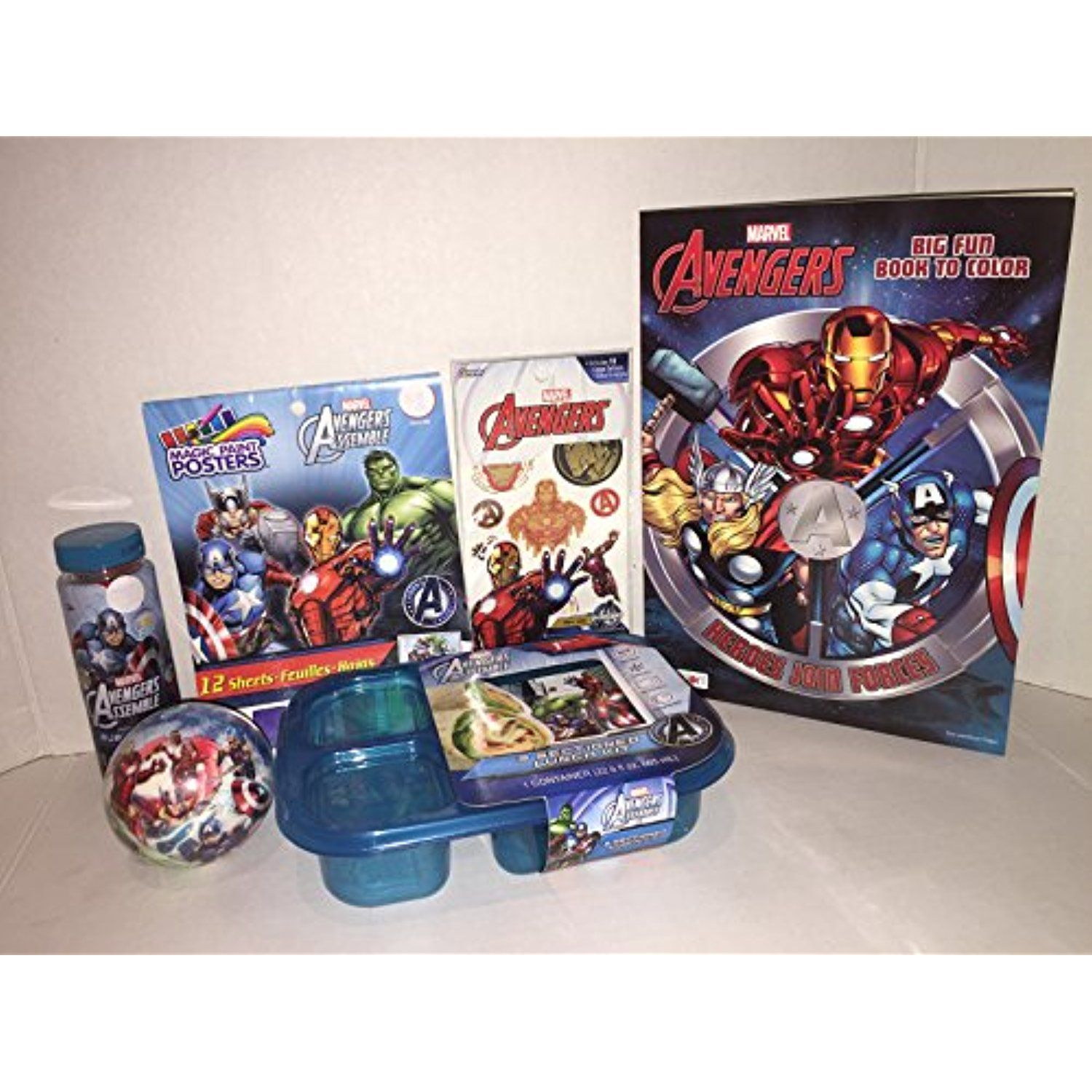 Marvel Avenger 6 Piece Bundle Includes Tattoos Paint Poster Jumbo Coloring Book Ball 3 Sectioned Lunch Kit Bubbles W Coloring Books Avengers Tattoo Avengers