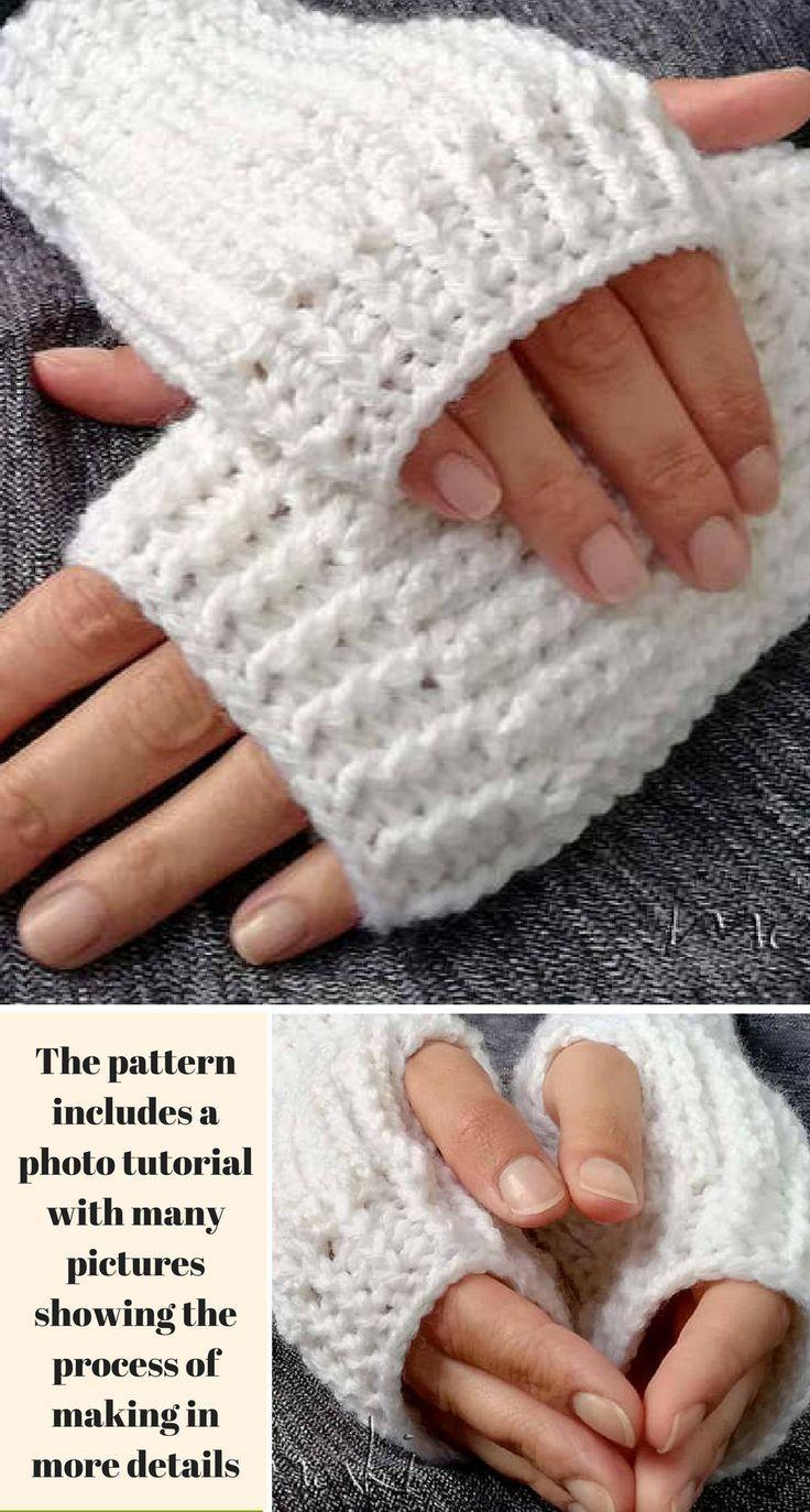 This Snow Bliss Finger-less Gloves Crochet Pattern is easy to make ...