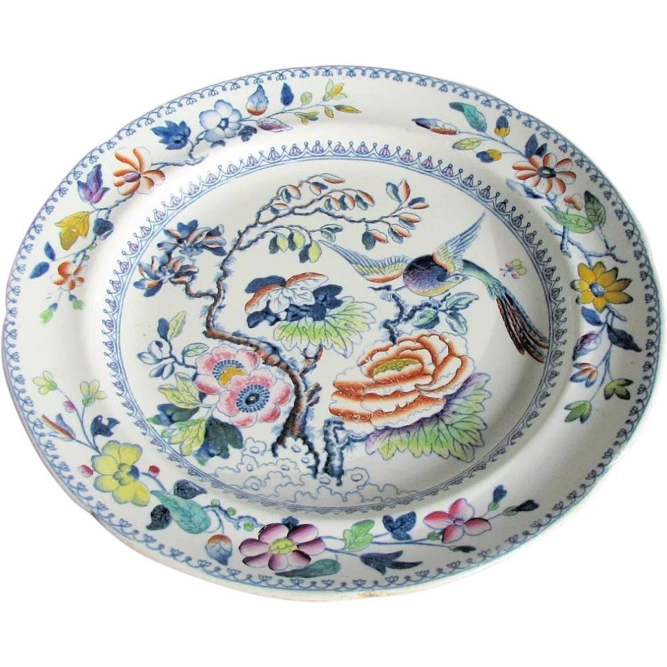 DAVENPORT STONE CHINA Rare mark Small Blue /& White Dish Staffordshire