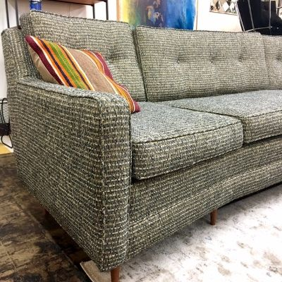 Large Angled 1960 70s Sofa With New Nate Berkus Tweed Upholstery.