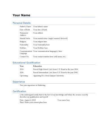 1 Biodata Resume Template go Pinterest Sample resume and Template - Simple Format For Resume