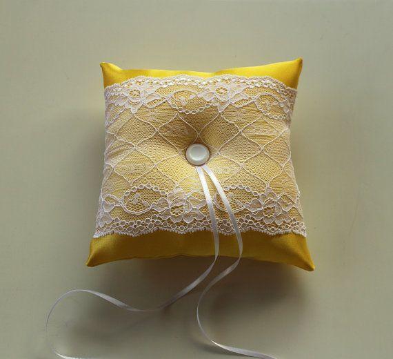 Yellow Ring Bearer Pillow, Weddings Cushion Baby Shower Pillow. Handmade