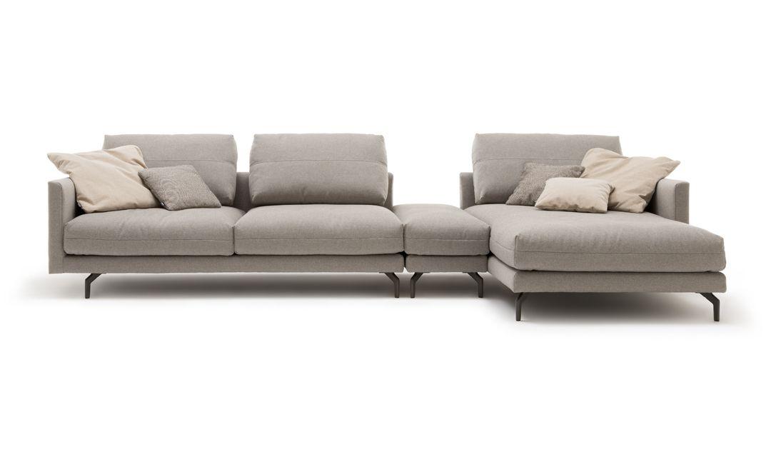 hülsta sofa hs 414 Sofa über tief Loungesofa Anreihsofa mit Hocker weicher Superior