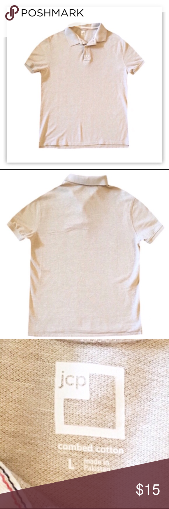 c42a52807f82 JCP Short Sleeve Polo ◾️Gently used JCPenney men s cream short sleeve polo.  ◾️Size Large ◾️Made with 100% Cotton. ◾️Length is 28