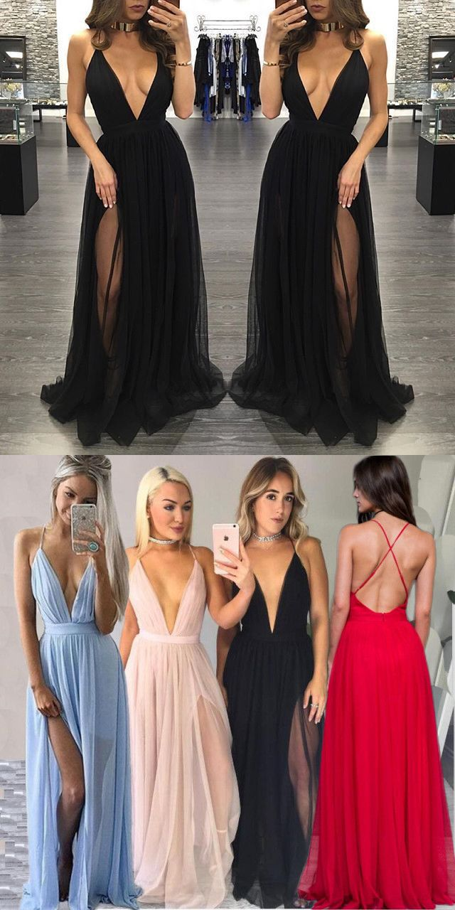 Sexy aline v neck long prom dress with slit from modseleystore