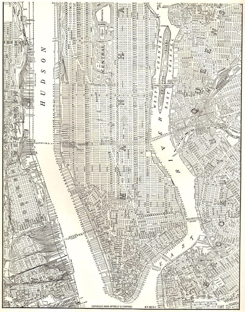 Map Of I 84 New York.1937 Antique Manhattan Map Vintage New York City Map Black And White