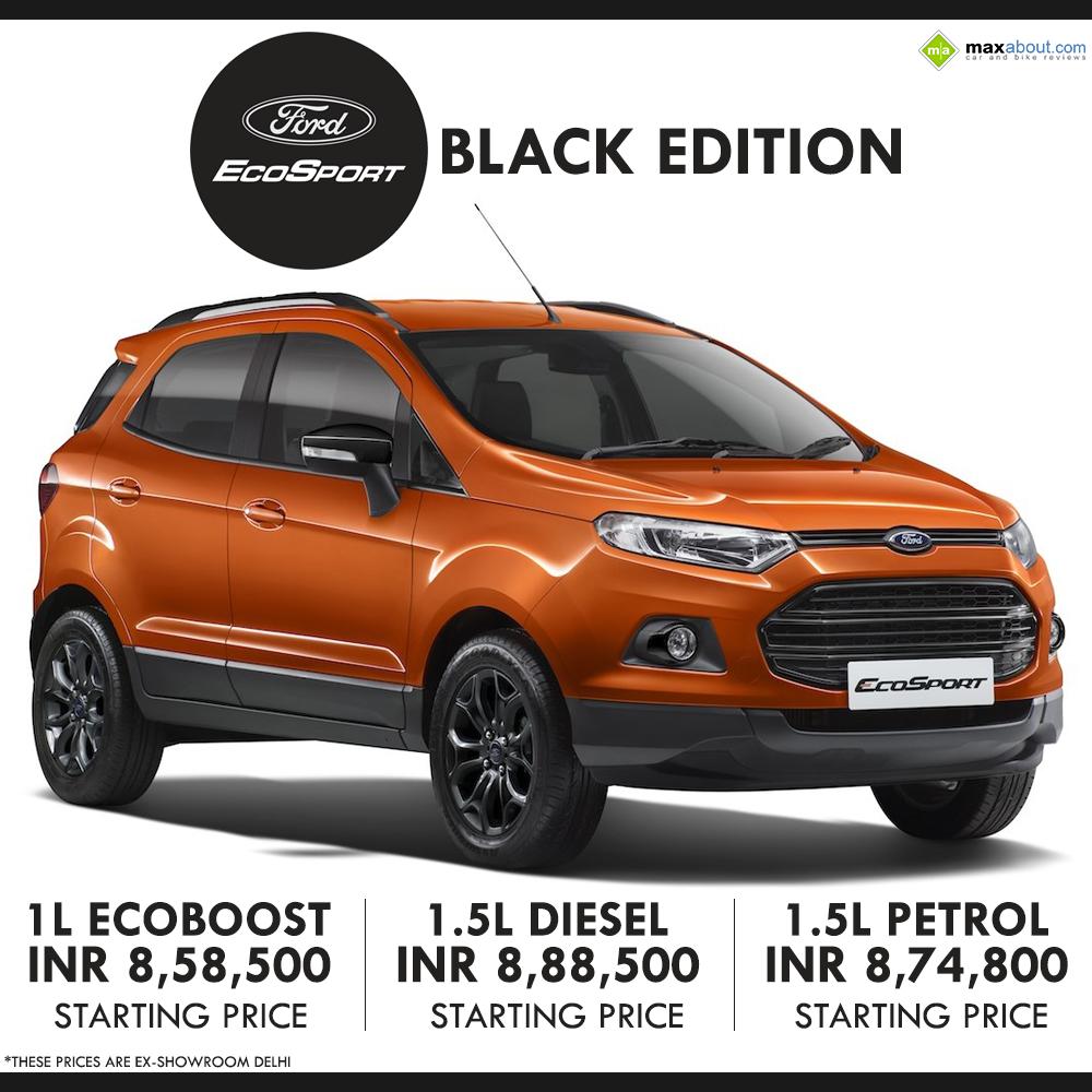 Ford ecosport black edition launched inr 8 58 500 ex showroom delhi
