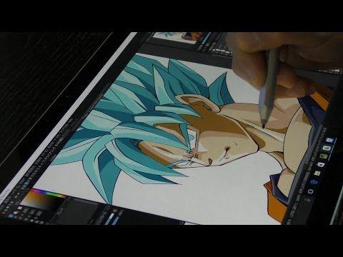 surface pro4 with medibang paint drawing super saiyan blue
