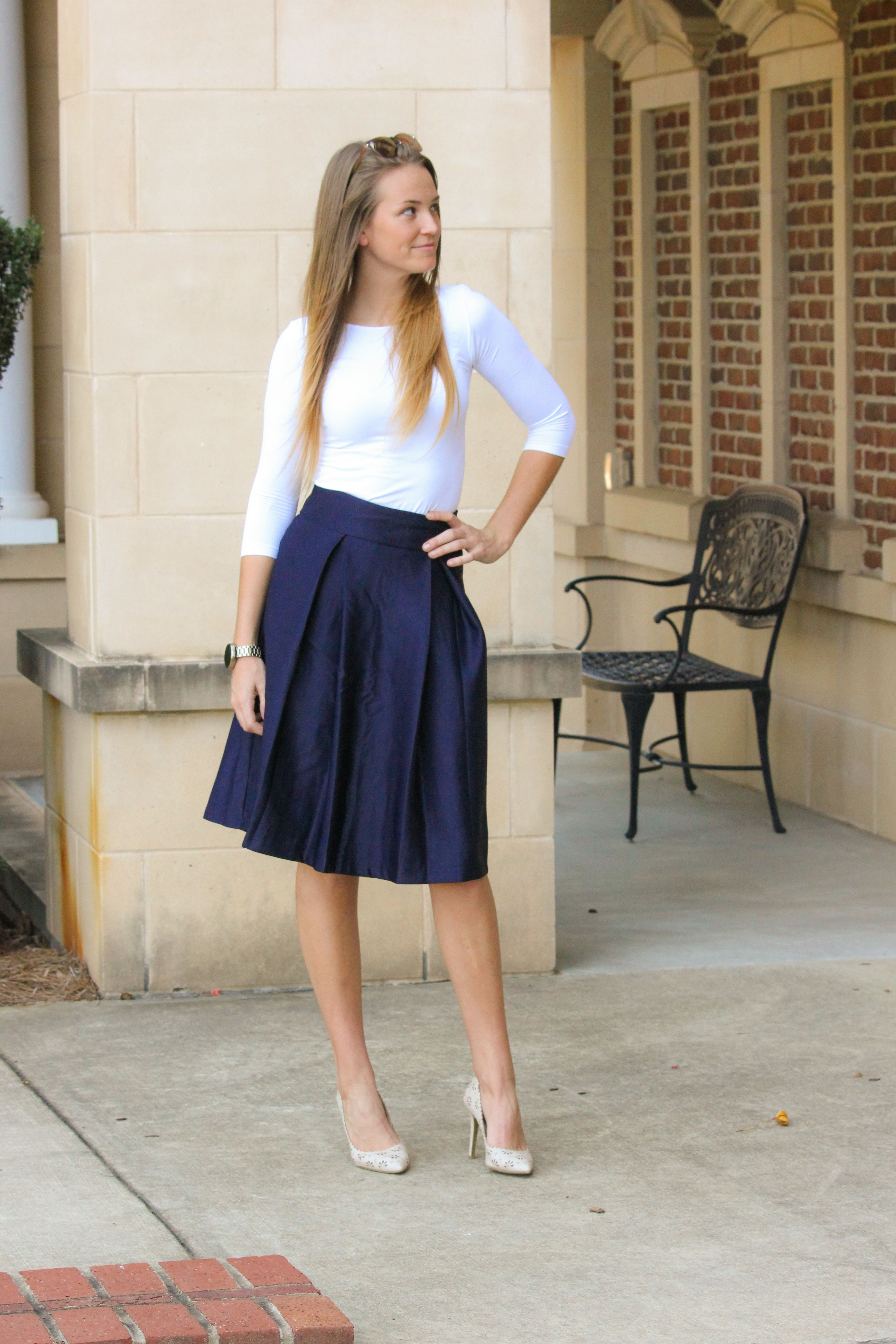 213cda315a Navy box pleated midi skirts are perfect for office wear and made from a  thick and comfortable fabric S-XL.