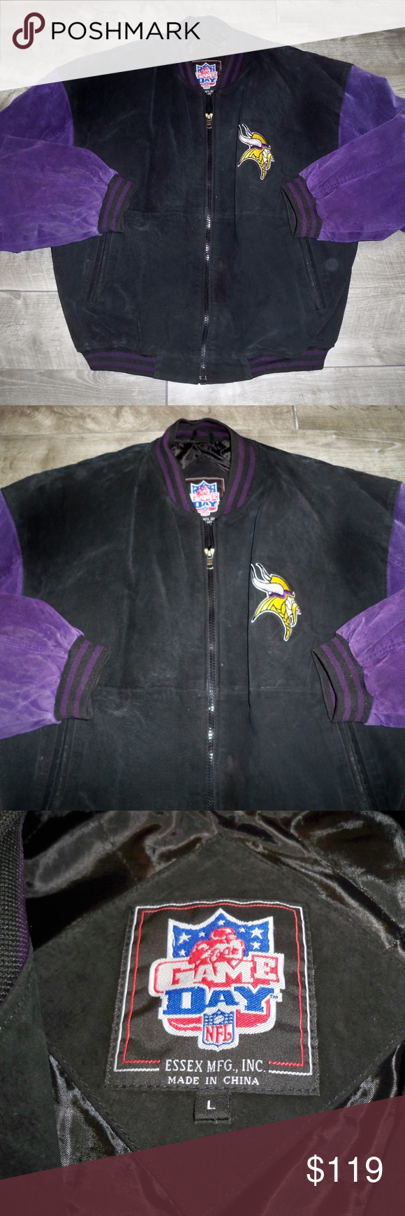 Game Day Men S Leather Minnesota Vikings Jacket Lg Up For Sale Is A Good Condition Game Day Men S Leather Nfl Minnesota Vik Gameday Outfit Leather Men Jackets [ 1740 x 580 Pixel ]